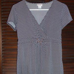 MOTHERHOOD Maternity Top Black White Diamond Print